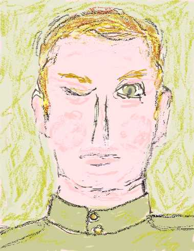 jeanne's rendering of Gelii Korzhev's portrait of a soldier, The Traces of War.